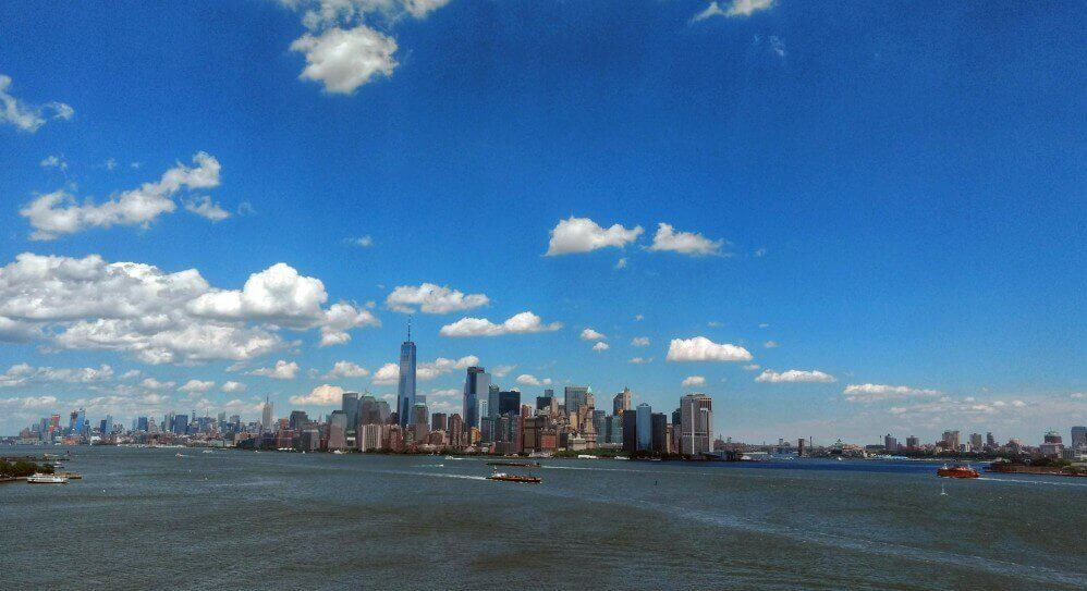 View of the lower manhattan skyline from Liberty Island