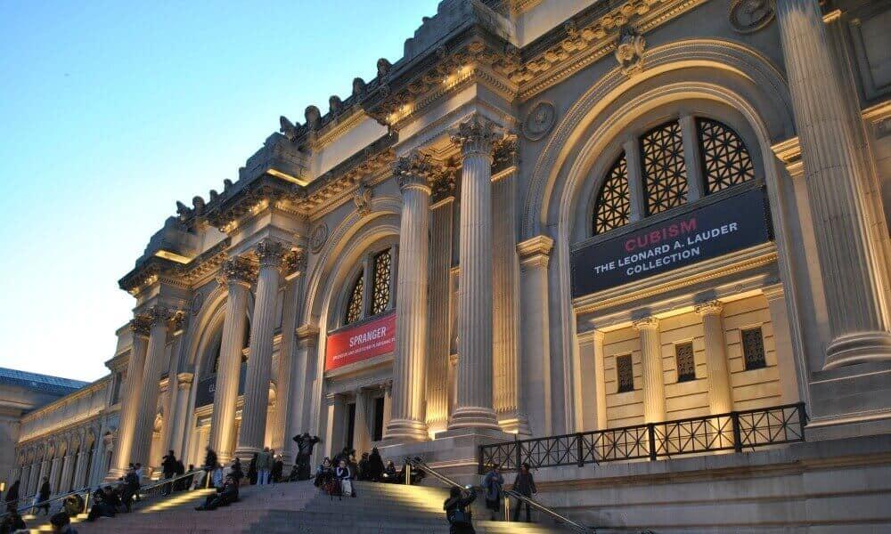 Metropolitan Museum of Art at dusk.