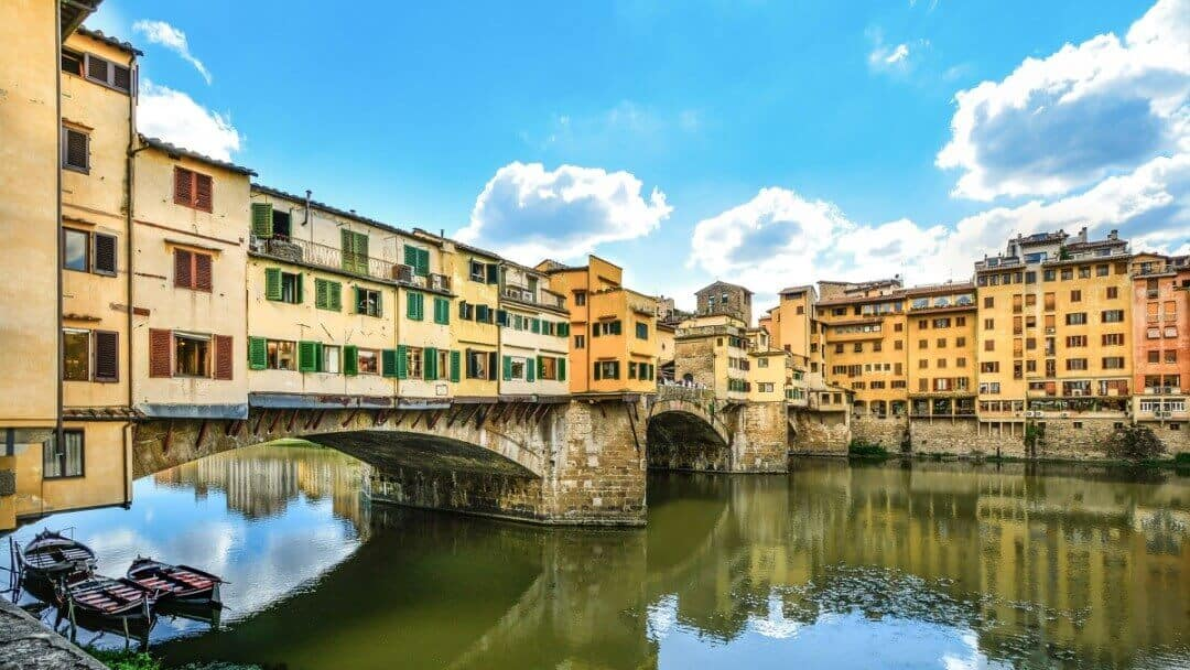 The Ponte Vecchio Bridge over the Arno River in Florence, Italy
