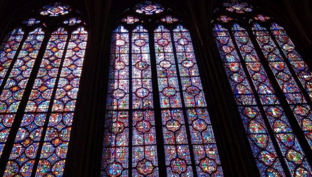 The beautiful stained glass windows at Saint-Chapelle in Paris.