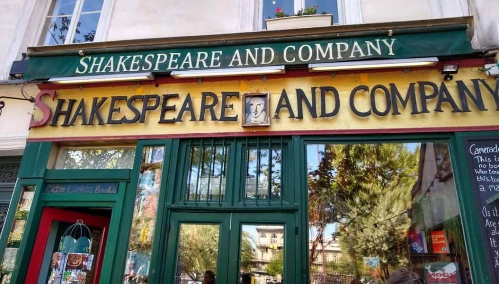 Storefront of the Shakespeare and Company English language bookstore in Paris.