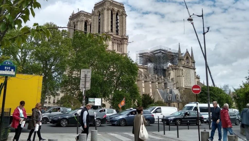 View of Notre-Dame Cathedral in Paris from the Shakespeare & Company cafe.