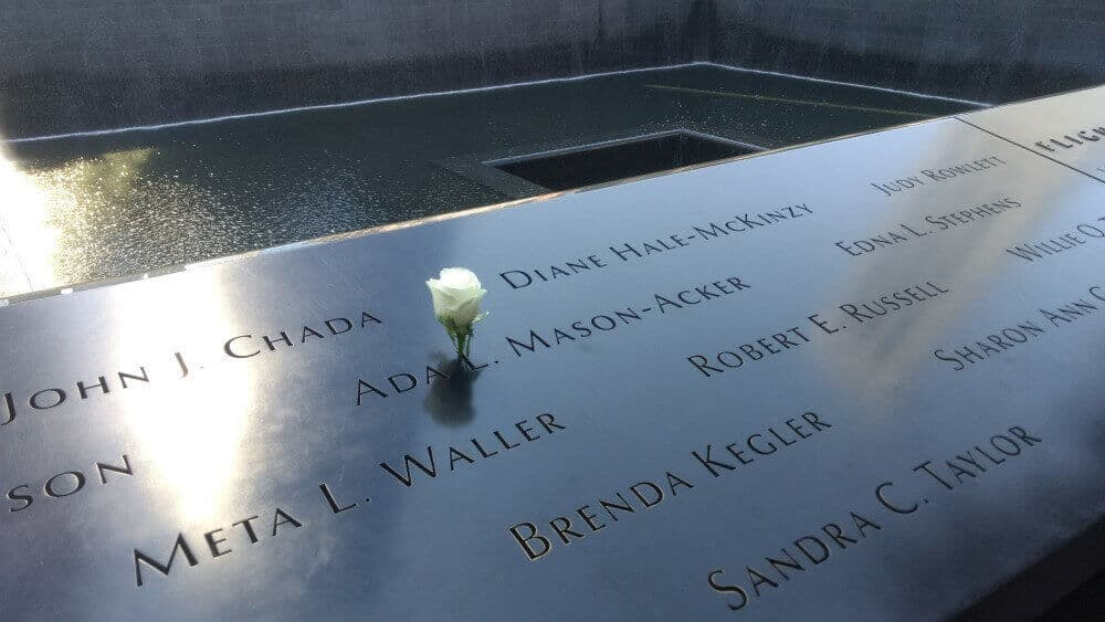 A single white rose at the 9/11 Memorial in New York City.