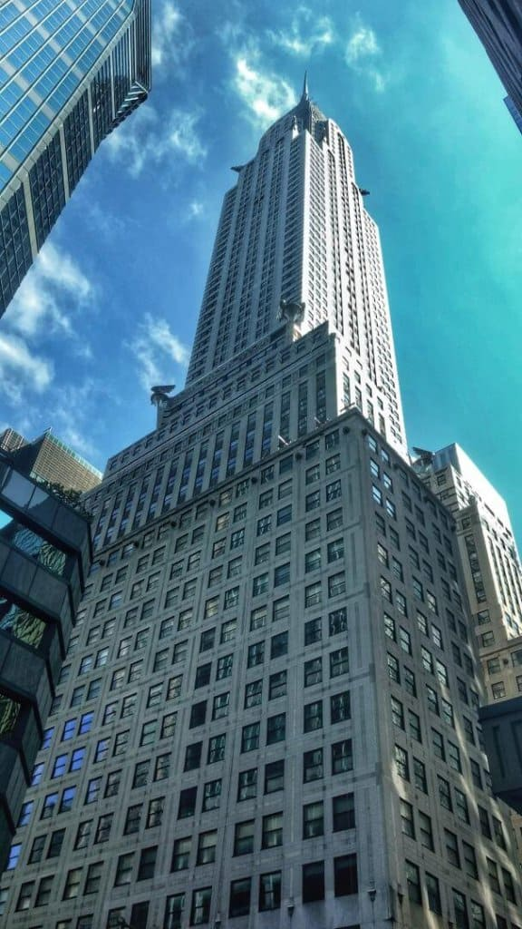 View the Chrysler Building in New York City from below.