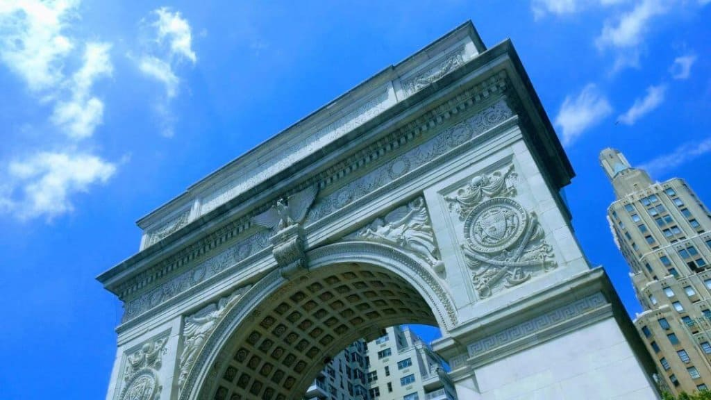 View of Washington Square arch from below.