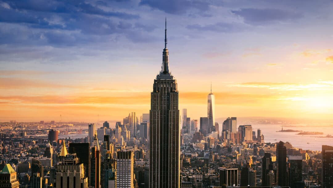 New York City skyline at sunrise with Empire State Building