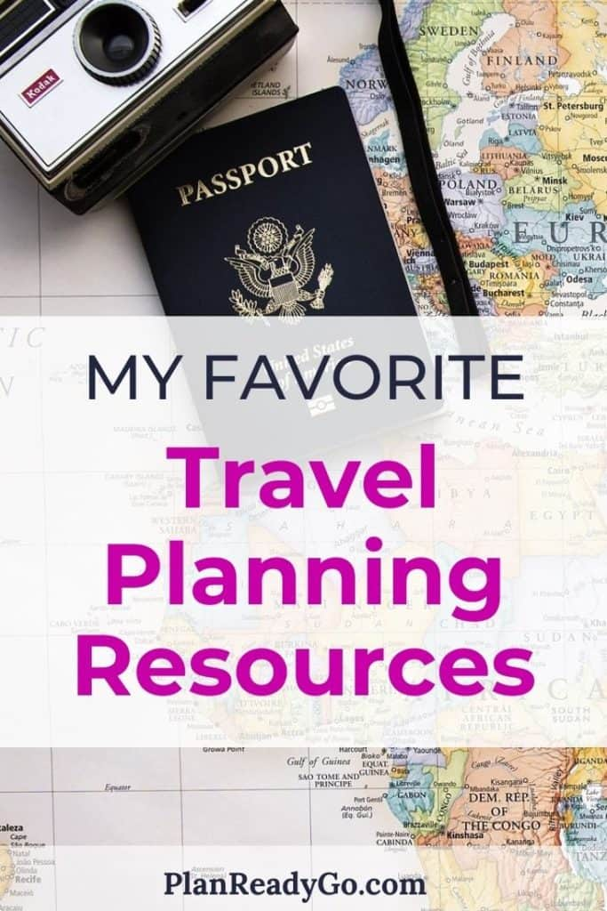 World map with a text overlay that says my favorite travel planning resources.