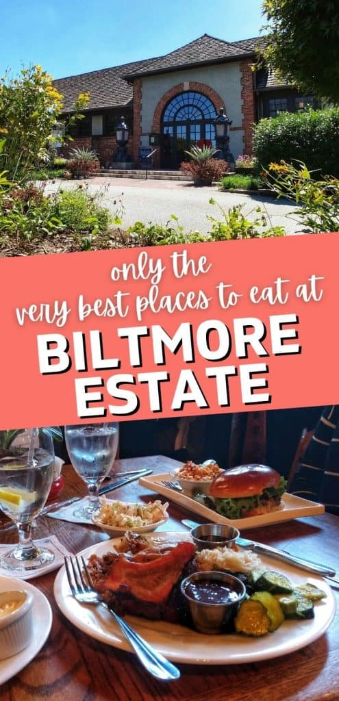 "A plate of comfort food plus a photo of the exterior of Deerpark Restaurant and Biltmore Estate with a text overlay that says ""only the best places to eat at Biltmore Estate."""