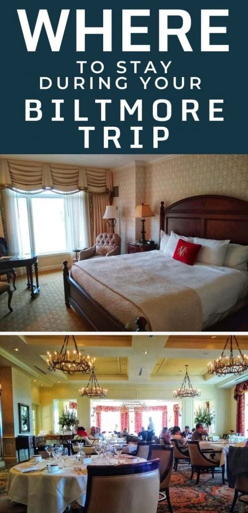 Photos of a king room and The Dining Room at The Inn on Biltmore Estate