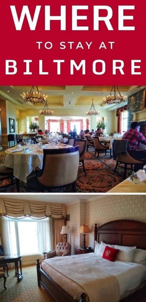 Pictures of a king room and the dining room illustrating the Inn on Biltmore Estate review