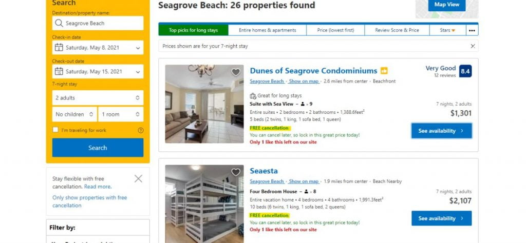 Screenshot showing where to find which properties have free cancellation on the booking.com website.