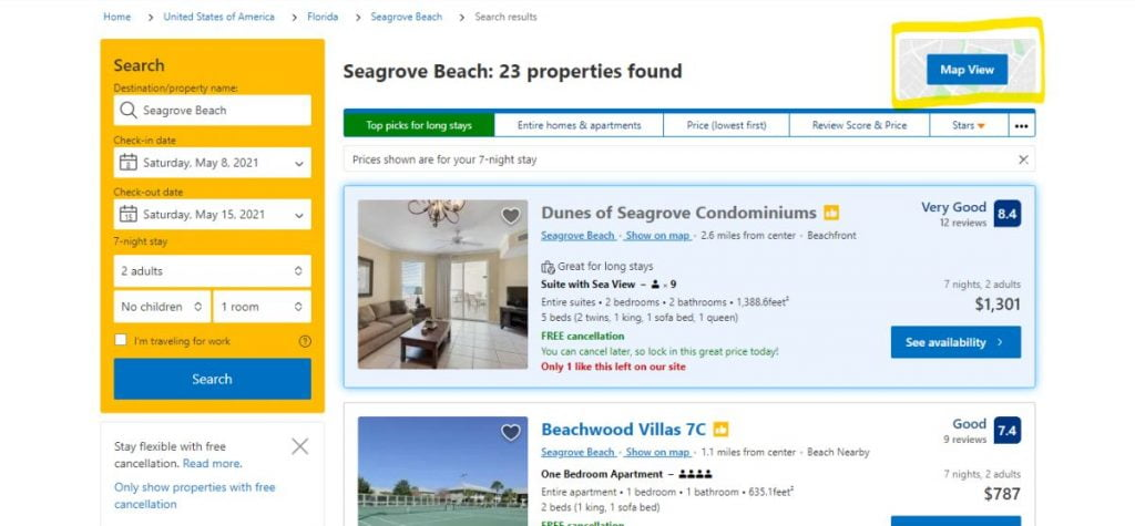 Screenshot showing where to find the map view on booking.com website.