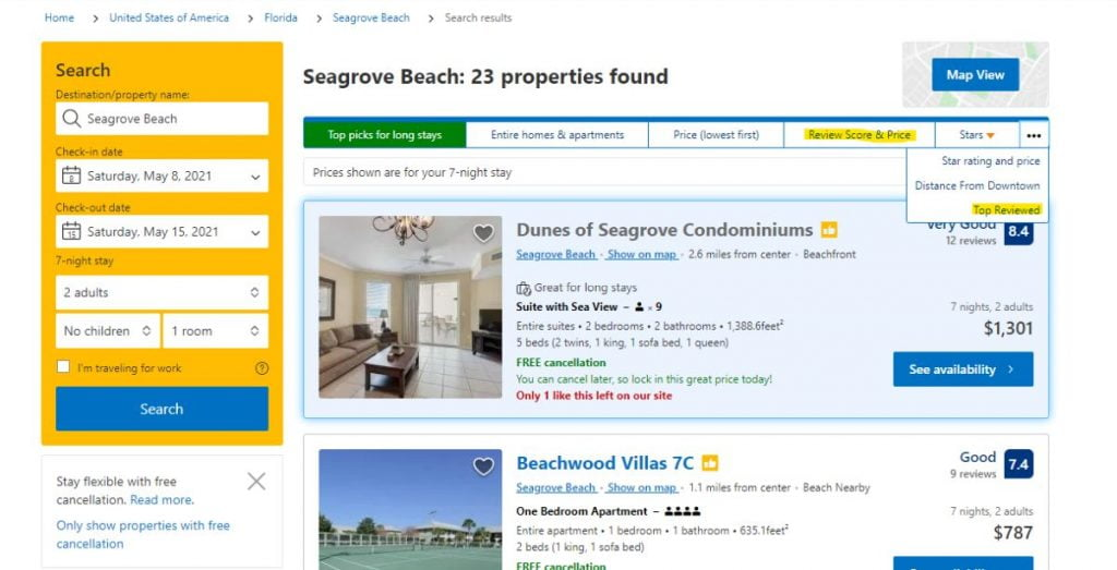 Screenshot showing other ways to sort search results on booking.com website.