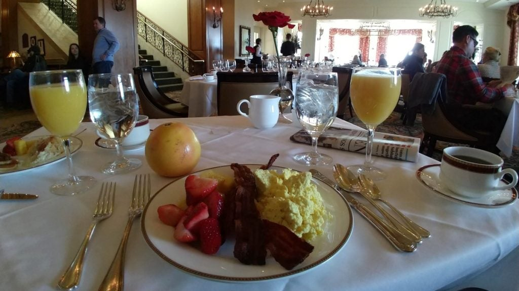 Plate of breakfast food on a table in The Dining Room at the Inn on Biltmore Estate