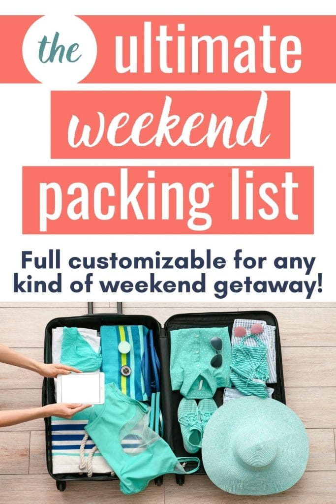 """Small suitcase full of beach vacation clothing and accessories with a text overlay that says """"ultimate weekend packing list."""""""
