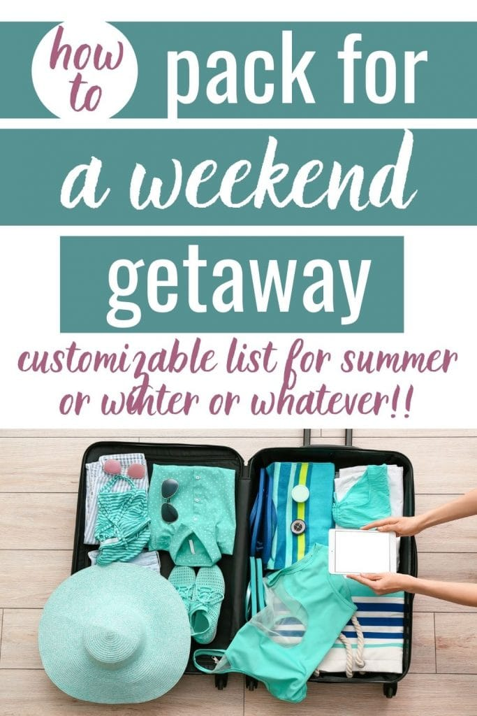 """Small suitcase full of beach vacation clothing and accessories with a text overlay that says """"how to pack for a weekend getaway."""""""