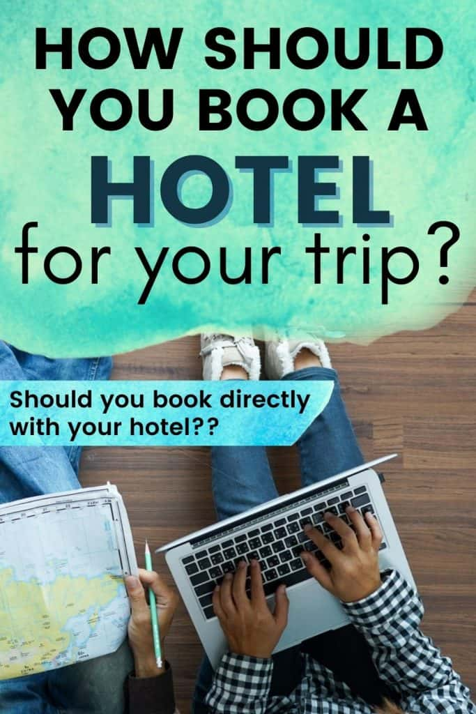 A couple using a laptop to plan their travel with a text overlay that talks about the best way to book your hotel