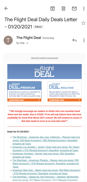 Screenshot of a daily email from The Flight Deal