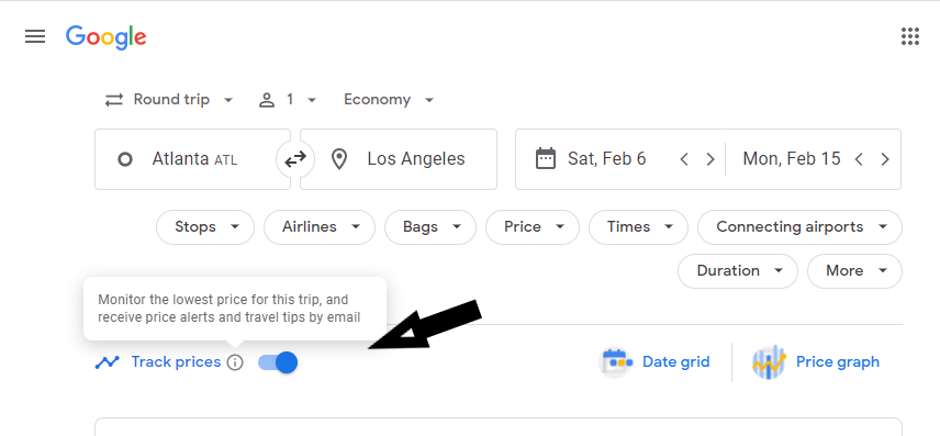 Screenshot of Google Flights showing where to enable the track prices feature