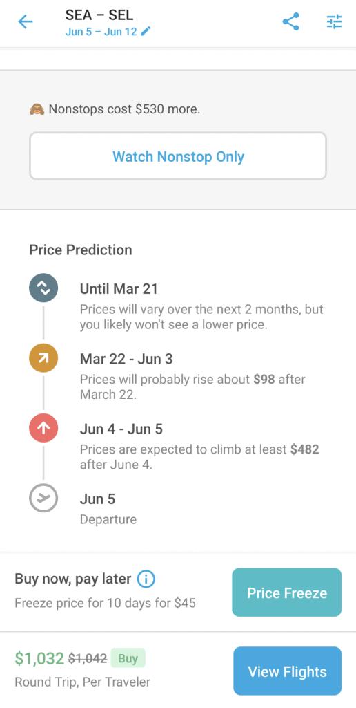Screenshot in Hopper app showing airfare prediction timeline