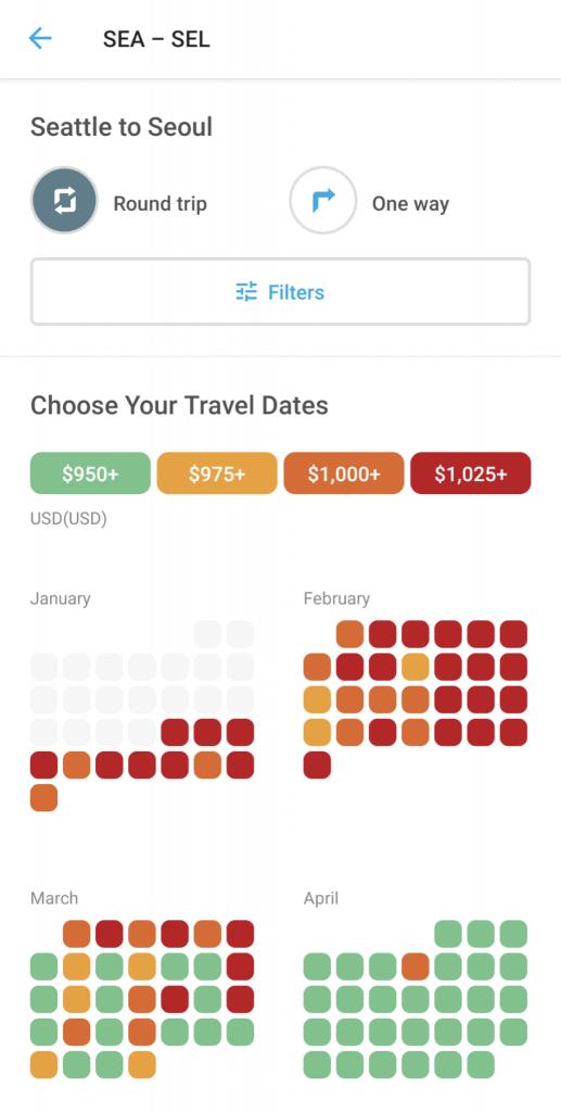Screenshot from Hopper app