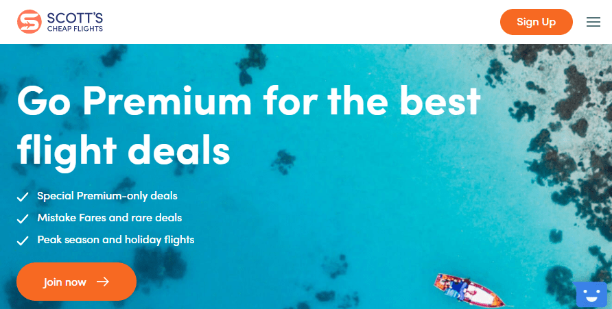 Screenshot of Scott's Cheap Flights website