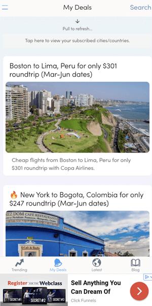 Screenshot of the Secret Flying app homepage
