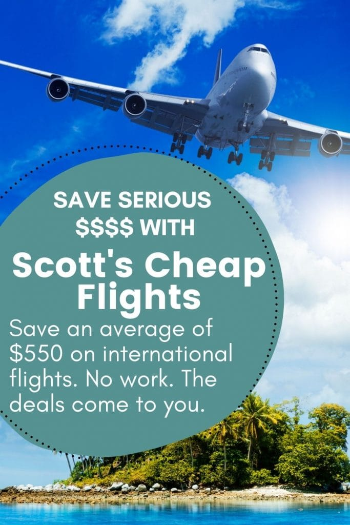 Airplane flying over an island with a text overlay about Scott's Cheap Flights and saving money
