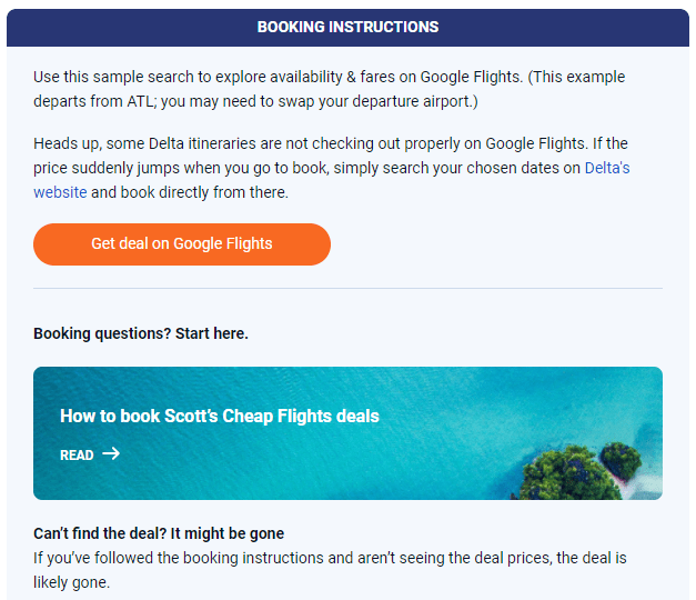 Scott's Cheap Flights email screenshot showing booking instructions