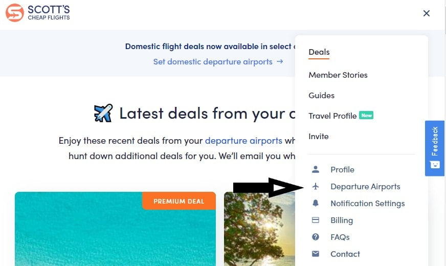 Scott's Cheap Flights website screenshot showing menu
