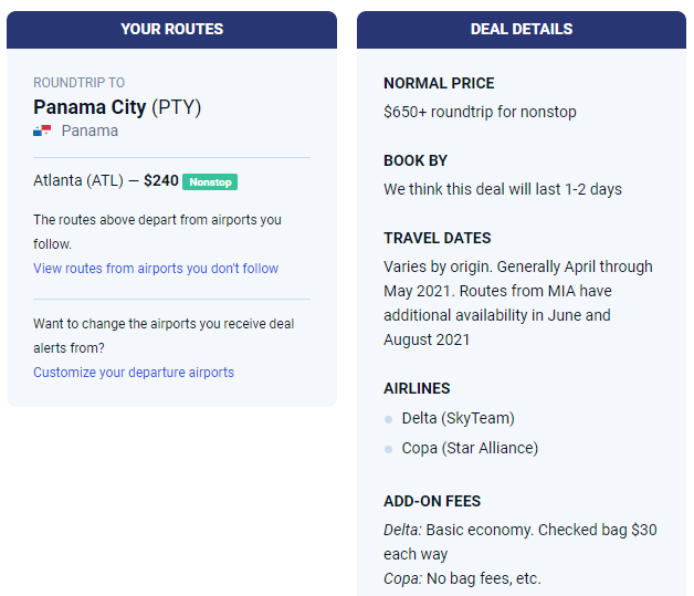Scott's Cheap Flights email screenshot showing pricing information